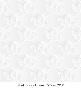 Neutral white floral texture. Decorative background with 3d carving effect. Raster seamless repeating pattern of stylized lotus flowers.