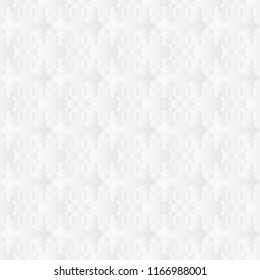 Neutral white geometric texture. Abstract oriental background with 3d carving effect. Raster seamless repeating pattern.