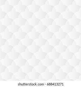 Neutral white texture. Abstract oriental geometric background with 3d carving effect. Raster seamless repeating pattern.