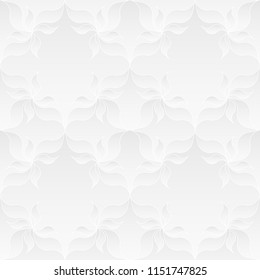 Neutral white texture. Decorative background with 3d pleated paper effect. Raster seamless repeating pattern with floral elements.
