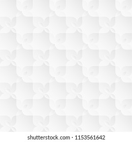 Neutral white texture. Ornamental floral background with 3d folded paper effect. Raster seamless repeating pattern.