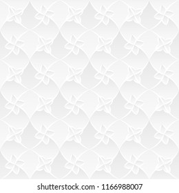 Neutral white texture. Stylized floral trellis background with 3d carving effect. Raster seamless repeating pattern.