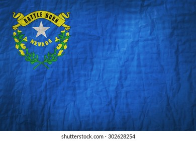 Nevada flag painted on a Fabric creases,retro vintage style
