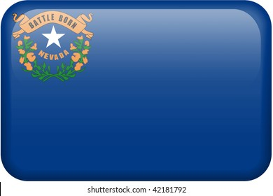 Nevada flag rectangular button.  Part of set of US State flags all in 2:3 proportion with accurate design and colors.