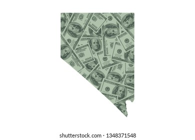 Nevada State Map and Money Concept, Hundred Dollar Bills