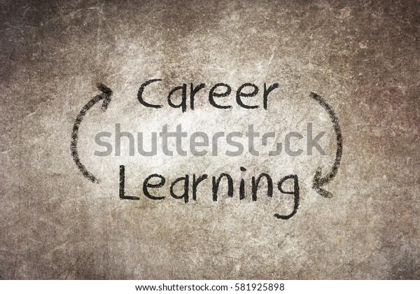 Never ending learning helps build career, written on chalkboard
