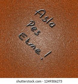 """Never give up"" slogan handwriting in Turkish language. ""Asla pes etme"""