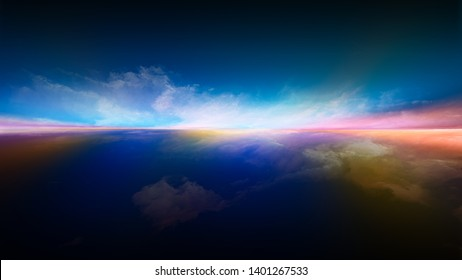 Neverland landscape. Perspective Paint series. Backdrop design of clouds, colors, lights and horizon line for works on illustration, painting, creativity and imagination