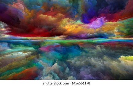 Neverland landscape. Perspective Paint series. Background design of clouds, colors, lights and horizon line on the subject of illustration, painting, creativity and imagination