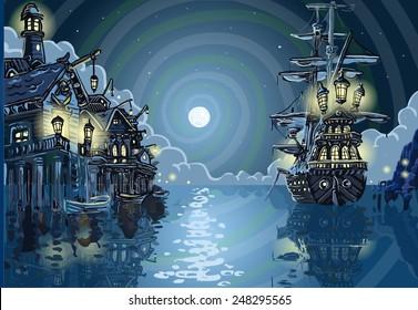 Neverland Magic Nocturnal Pirate Cove Island Kids Background Invitation Pirate Galleon Skull Nocturnal Background. Pirate Kids Magic Cove Neverland Background Insight 3D Vector Invitation Illustration