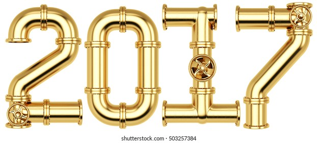 new 2017 year from golden gas pipes. Isolated on white background. 3D illustration.