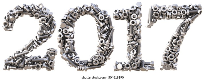 new 2017 year from the nuts and bolts. isolated on white. 3D illustration.