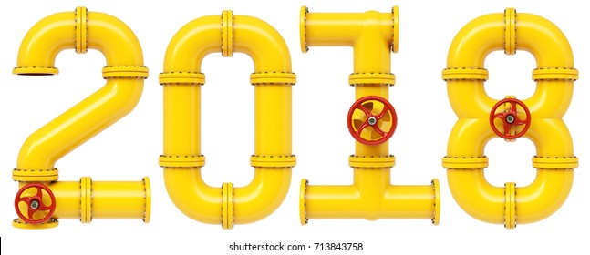 new 2018 year from gas pipes. Isolated on white background. 3D illustration.