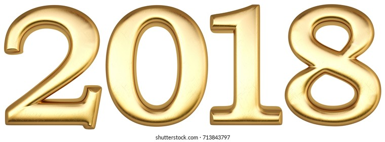 new 2018 year from gold. isolated on white. 3D illustration.