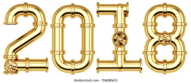 new 2018 year from golden gas pipes. Isolated on white background. 3D illustration