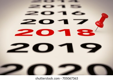 New 2018 Year Sign with Red Pin Marker on a white background. 3d Rendering