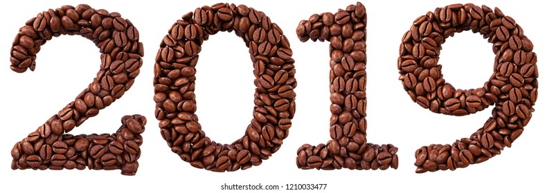 new 2019 year from coffee beans. isolated on white. 3D illustration.