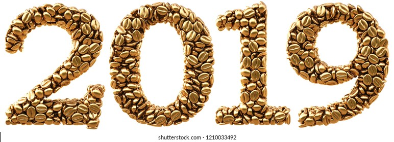new 2019 year from gold coffee beans. isolated on white. 3D illustration