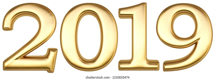 new 2019 year from gold. isolated on white. 3D illustration.