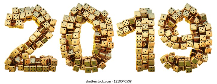 new 2019 year from the golden dice. isolated on white. 3D illustration.