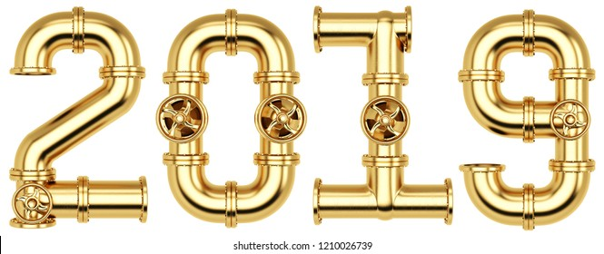 new 2019 year from golden gas pipes. Isolated on white background. 3D illustration