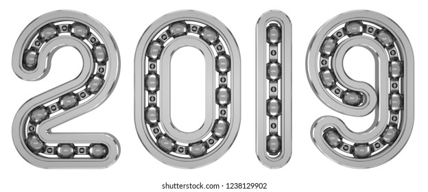 New 2019 year from numbers as bearing. Isolated on white. 3D Illustration