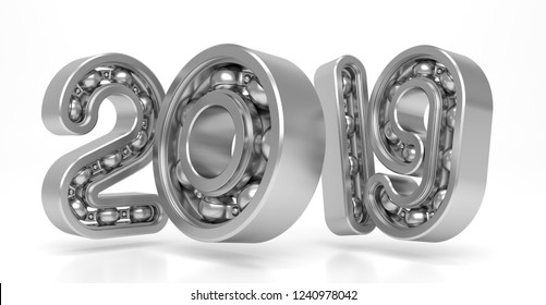 New 2019 year from numbers as bearing. 3D Illustration