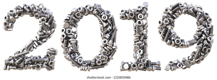 new 2019 year from the nuts and bolts. isolated on white. 3D illustration