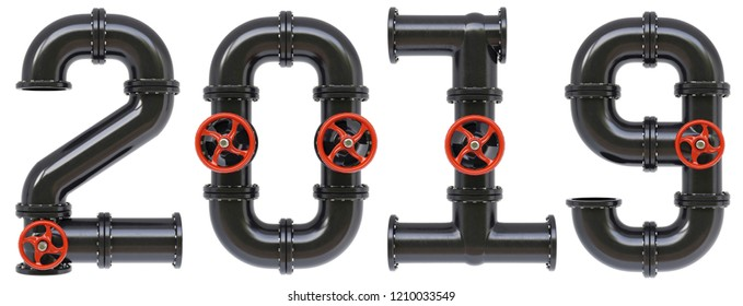 new 2019 year from oil pipes. Isolated on white background. 3D illustration.