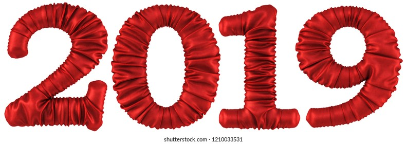 new 2019 year from the red fabric. isolated on white. 3D illustration.
