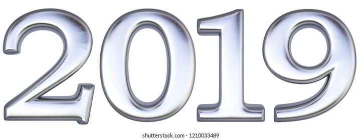 new 2019 year from silver. isolated on white. 3d rendering.
