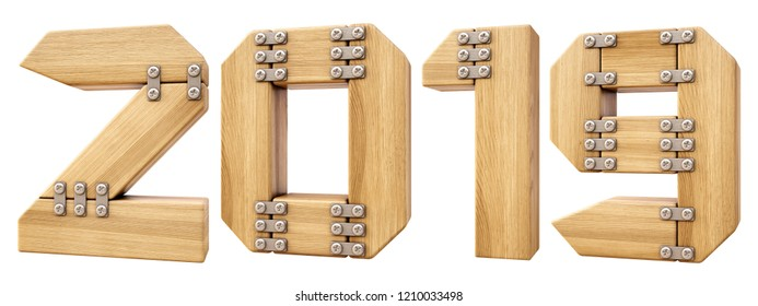 new 2019 year from wood. isolated on white. 3D illustration