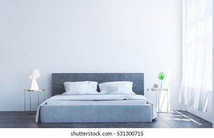 new 3D rendering interior design of minimal bedroom