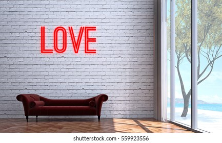 New 3D rendering interior design of love seat sofa and brick wall room