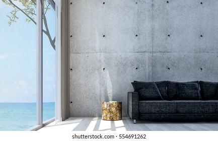 New 3D rendering interior of minimal living room and concrete wall