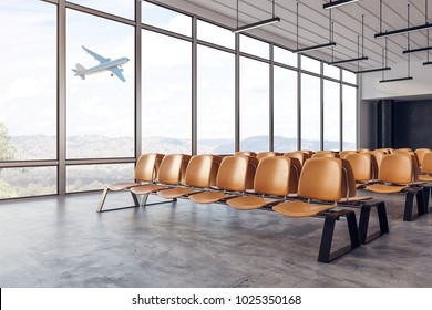 New airport waiting area interior with seats and windows with landscape view. Travel and lifestyle concept. 3D Rendering