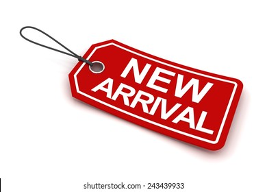 New arrival tag, 3d render, white background