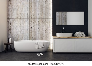 New bathroom interior with copy space on wall. Mock up, 3D Rendering