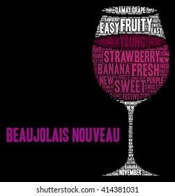 New Beaujolais wine word cloud