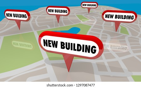 New Building Construction Map Pins 3d Illustration
