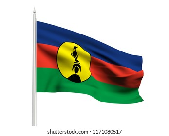 New Caledonia flag floating in the wind with a White sky background. 3D illustration.