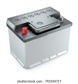 New car 12v battery. Object isolated on white background 3d