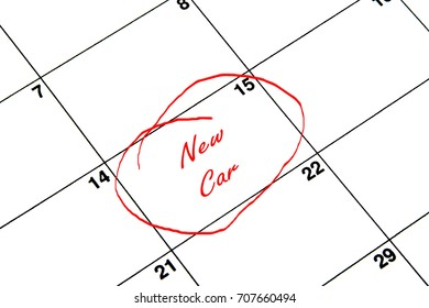 New Car Circled on A Calendar in Red