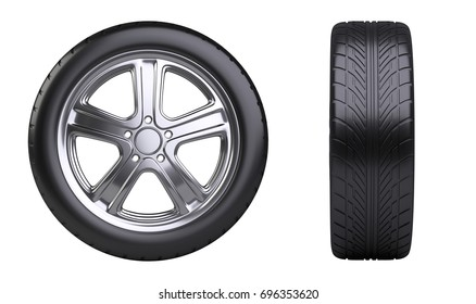 New car wheel, front and side view. Isolated on white background 3d illustration.