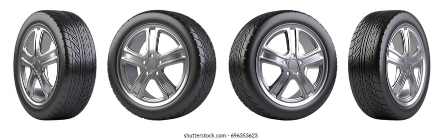 New car wheels set. Isolated on white background 3d illustration.