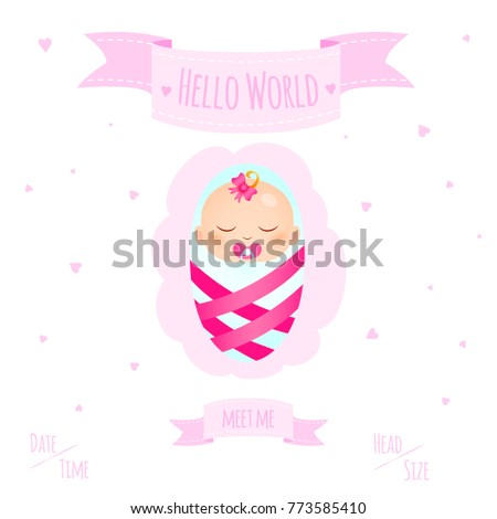 New child born baby newborn greeting stock illustration 773585410 new child born baby newborn greeting card with girl kid in diapers words hello world m4hsunfo