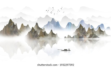 New Chinese landscape painting with artistic conception