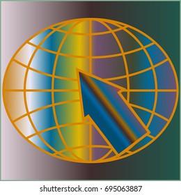 New colorful gradient WWW globe with arrow.