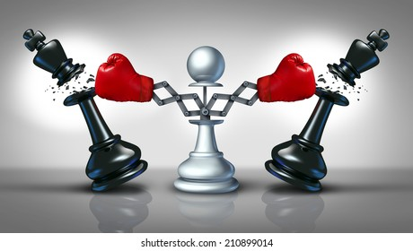 New competition business concept with a chess pawn punching and destroying competitors as two king pieces with hidden red boxing gloves as a metaphor for innovative corporate attack strategy.