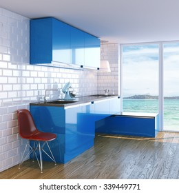 New contemporary blue kitchen furniture in white interior with classic tiles. Sea Beach View in Big Windows. 3D render